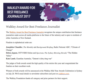 Walkley Award Best Freelance Journalist 2017 – Finalist