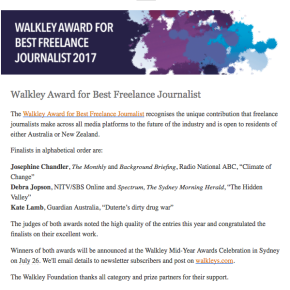 Walkley Foundation: MEAA Best Freelance Journalist 2017 – Finalist